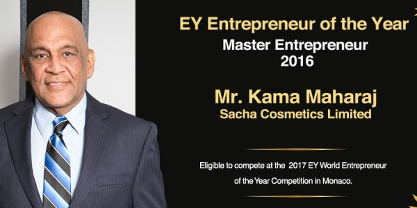 Satyakama 'Kama' Maharaj is Master Entrepreneur of the Year 2016 | Sacha Cosmetics
